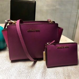 New Michael Kors Selma Crossbody & Wallet Set